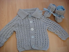 Cardigan and matching booties from Sandra Tough