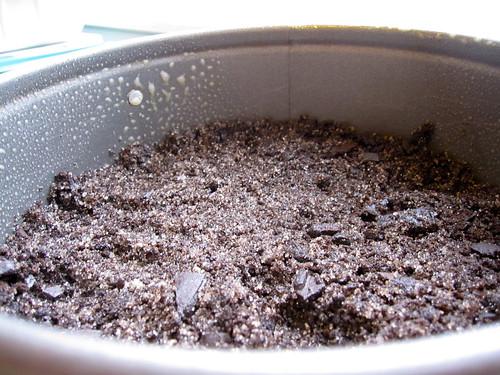 Chocolate Caramel Cheesecake: the crust