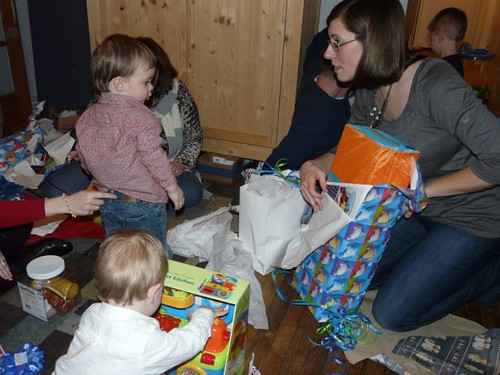 Opening presents by you.