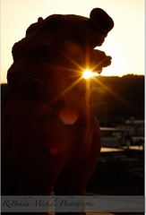 Hatsuhinode: First Sunrise (ReBekha Michele) Tags: sun japan sunrise okinawa nikkor shisa hatsuhinode nikond80 newyearlensflare sunflarejet
