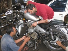 Prepare for the ride... (Yazed RD350 Lord) Tags: red silver fix ride repair mechanic enfield thunderbirs