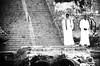 The Wait... (SonOfJordan) Tags: travel light shadow two bw white black men stairs canon eos dock waiting time egypt bank nile wait aswan xsi 450d samawi sonofjordan wwwshadisamawicom
