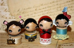 some poppytree spool dolls (the poppy tree) Tags: camera wood blue red white snow art thread vintage painting doll dolls photographer lace silk clay seamstress sewingmachine whimsical littlered spool femo rididnghood