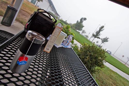 Tea break on a foggy morning...