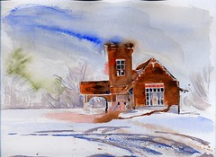 Lansing Depot (Artist Naturalist-Mike Sherman) Tags: old winter art architecture rural watercolor painting landscape michigan fineart january lansing traindepot pleinair midmichigan