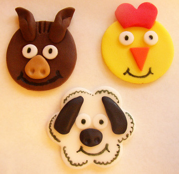 farm cupcake toppers - horse, chicken and sheep