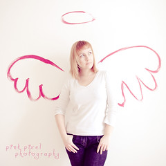 these are multi-purpose wings & when she's not flying they accessorize nicely with almost anything she wears~ (Pink Pixel Photography (f.k.a. Sunny)) Tags: selfportrait angel 1 explore frontpage wallpainting storypeople sigma1770mm canoneos7d wwwpinkpixelat pinkpixelphotography missedhavingyouaround