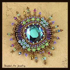 Beaded brooch by Susan Pierle (Beaded Art Jewelry) Tags: handmade brooch jewelry beadwork beadembroidery beadedjewelry vintageswarovskicrystal