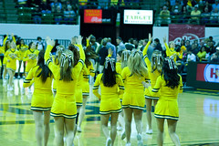 Cheers (cvorhisphoto) Tags: blue girls people game college basketball yellow women texas cheerleaders waco future kansas fans february cheerleading britney crowds griner wnba brittney 2010 kansasbasketball big12 furure uniformskirt cheerleadingteam baylorladybears britneygriner
