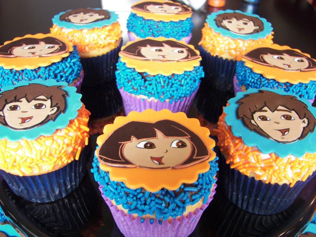 Yo Gabba Gabba Dora The Explorer Super Mario Glitter Birthday - Dora birthday cake toppers