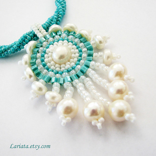 turquoise and freshwater pearl beadwoven pendant