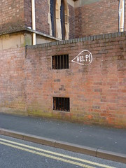 Help! Prisoner? (lydia_shiningbrightly) Tags: uk england urban streetart sign graffiti leamington westmidlands warwickshire