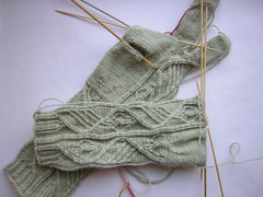 Gloves knitted WIP
