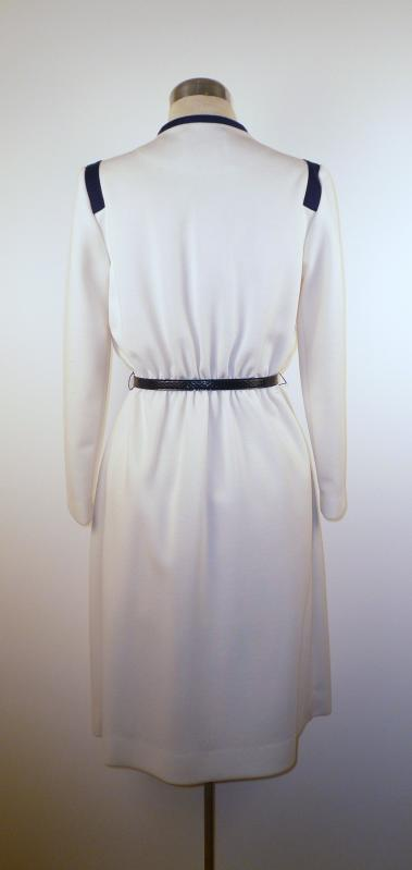 CuteBack - Cream Knit Dress with Navy Trim