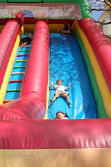 Owen sliding down mega giant slide