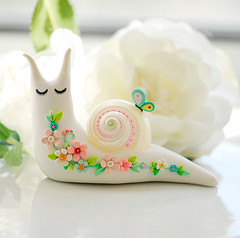 Snail 11 out of 33 ({JooJoo}) Tags: pink sculpture white flower green art nature floral butterfly spring bright mint shell fresh polymerclay fimo daisy sculpey whiterose botanicals joojoo aquablue afsanehtajvidi 33snails