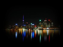 Toronto's Skyline (MSVG) Tags: sky lake toronto ontario canada tower skyline night scrapers skyscraper cn docks skyscape town downtown district c horizon n down front line shore distillery scraper the