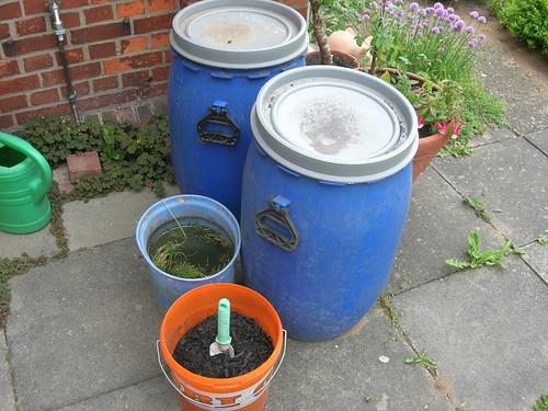 Terra Preta Nova Fermentation Küchenabfälle in blauen Tonnen