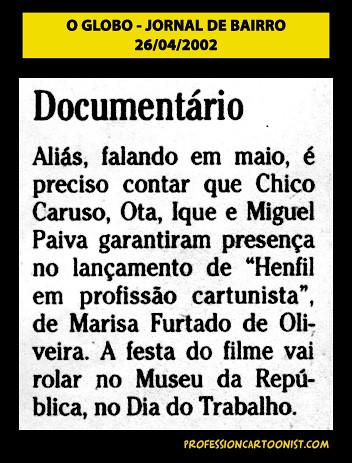 """Documentário"" - O Globo - 26/04/2002"