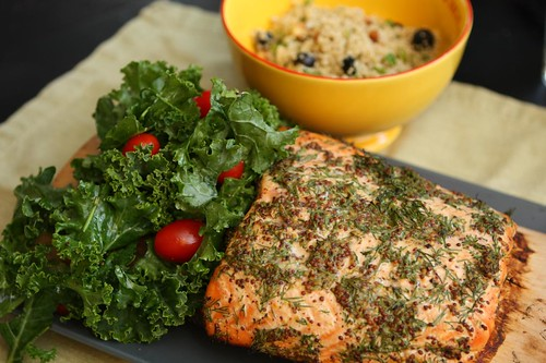 Maple Plank Grilled Salmon with Mustard, Dill, Kale Salad and Quinoa