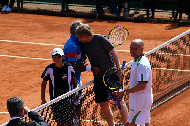Mansour Bahrami, Jim Courier and Andre Agassi
