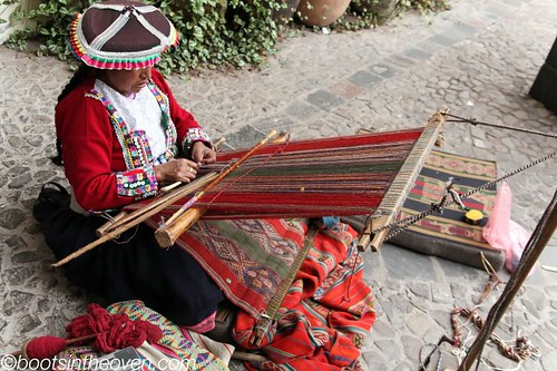 Weaving in the courtyard at the Pre-Colombian Museum