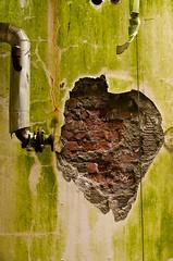 (kelvinharron) Tags: urban green wall factory pipe area northernireland exploration nestle cracked spraying chemical urbex omagh