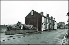 Granville Place & Sandsfield Lane (tatrakoda) Tags: old uk houses england urban bw building history film monochrome 35mm geotagged mono town blackwhite nikon kodak f65 lincolnshire analogue gainsborough terraced bw400cn granvilleplace dn21 sandsfieldlane