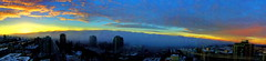 Pano: Sunrise over a snowy, foggy Vancouver (peggyhr) Tags: city blue friends sky panorama orange white canada black yellow fog vancouver clouds sunrise bc harmony thegalaxy addictedtoflickr 25faves panoramaphoto peggyhr heartawards doubledrago