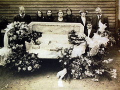 In Repose (~ Lone Wadi ~) Tags: death coffin casket funeral wake corpse deceased flowers mourners retro 1910s unknown