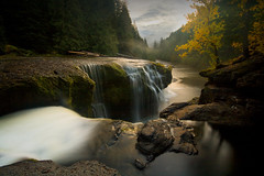 Lower Lewis River Falls (sweber4507) Tags: autumn sunset wild cloud mist fall fog night forest river landscape waterfall washington pacific northwest dusk perspective lewis falls mysterious serene lower distance cascade gifford pinchot gemsofnature lightdusk todaysbest photocontesttnc10