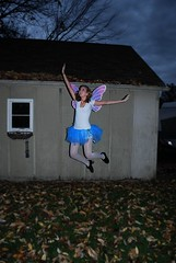 Brooke Fairy (lalaleahh) Tags: autumn fall halloween girl leaves flying jumping wings wand magic shed tights skirt fairy tutu