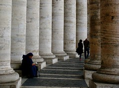 Sat in the shadow of history (pompey shoes) Tags: italy vatican rome roma italia sitting g columns nun stpeterssquare reding challengegamewinner