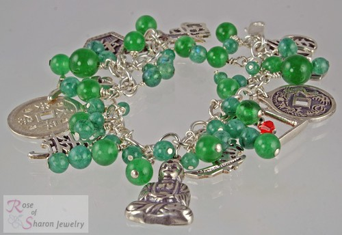 Chinatown - Asian theme silver charm bracelet
