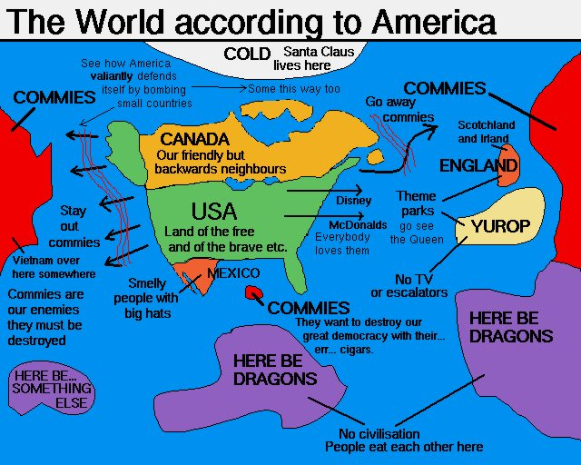 This World According to America has a nice scent of anti-communism... making one think its from the 80s, but, sadly, interweb memes didnt exist back then.