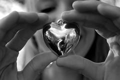 (letty davis) Tags: bw white black reflection smile hands focus dof heart fingers