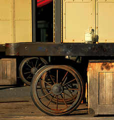 Cart (searchlight557) Tags: newyork wheel hub bottle nikon rivets tan cart spoks repeatingshapes