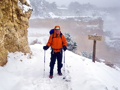 Grand Canyon - serious gear for serious weather (Al_HikesAZ) Tags: park camping winter arizona snow ice hat angel nationalpark bright hiking grandcanyon nieve gear grand paisaje canyon hike equipment trail national backpacking backcountry invierno marmot hielo southrim mochila tilley tilleyhat  grandcanyonnationalpark rainjacket brightangeltrail brightangel grancaon gcnp  marmotprecip alhikesaz   gc2009 belowtherim arizonahighwayshiking