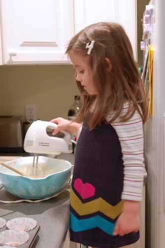 Mixing the batter.