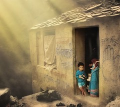 A Dream ( Enchnres ) Tags: life india home kids cottage dream hut sunrays littleboy littleworld sunhine sapnasapien sunligfht