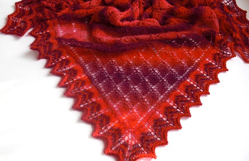 "Triangular Scarf in Leaf Pattern by Nancy Bush-34"" x 53"" by Nancy Bush-2"