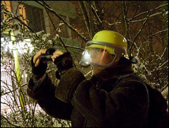 you can`t stop real photographers (voinovitch) Tags: firefighter protectyourself photographerinaction suddensnowstorm