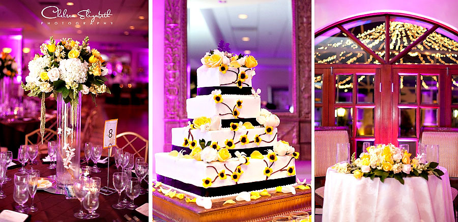 wedding reception purple up lights and yellow and white flowers wedding cake turnip rose grand newport plaza costa mesa detail picture