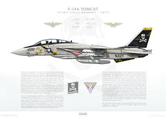 F-14A Tomcat VF-84 Jolly Rogers, AJ200 / 160393. CVW-8, USS Nimitz CVN-68 - 1977 (www.deploymentproductions.com) Tags: art usmc illustration plane us fighter force aircraft aviation air profile navy marines rogers jolly 1977 bomber usaf usn uss carrier tomcat nimitz cvn68 f14a cvw8 vf84 160393 aj200