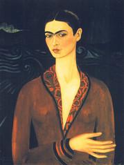 Frida Kahlo - Self-portrait wearing a velvet dress, detail, 1926