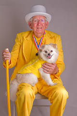 Yellow Man. (Charlie the Cheeky Monkey) Tags: yellow cane tophat dogshow manwithdog dressedtothenines dogwithman yellowsuit thelittledoglaughed canon7d awesomeoldguy yellowcane