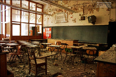 I Don't FEEL Tardy... (DetroitDerek Photography ( ALL RIGHTS RESERVED )) Tags: school light urban usa abandoned digital america canon eos rebel closed downtown glow tech classroom decay michigan interior detroit urbanexploration inside xs cass economy learn allrightsreserved desks casstech urbex 313 motown motorcity detention hotforteacher