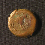 "<b>58 Reverse</b><br/> The reverse of this coin features a bull, most probably one about to be sacrificed. The year ΙΔ indicates that this coin was minted in the 14th year of Tiberius' reign, or AD27-28.  Donated by Dr. Orlando ""Pip"" Qualley<a href=""http://farm3.static.flickr.com/2798/4352108210_2b3cae6e09_o.jpg"" title=""High res"">∝</a>"