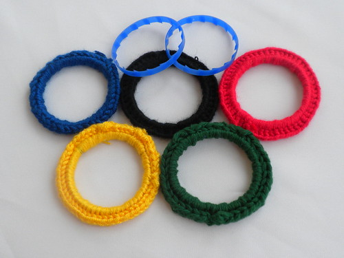 Milk Jug Rings + Yarn = Olympic Cheer