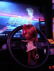 Percy trying her hand at a racing game